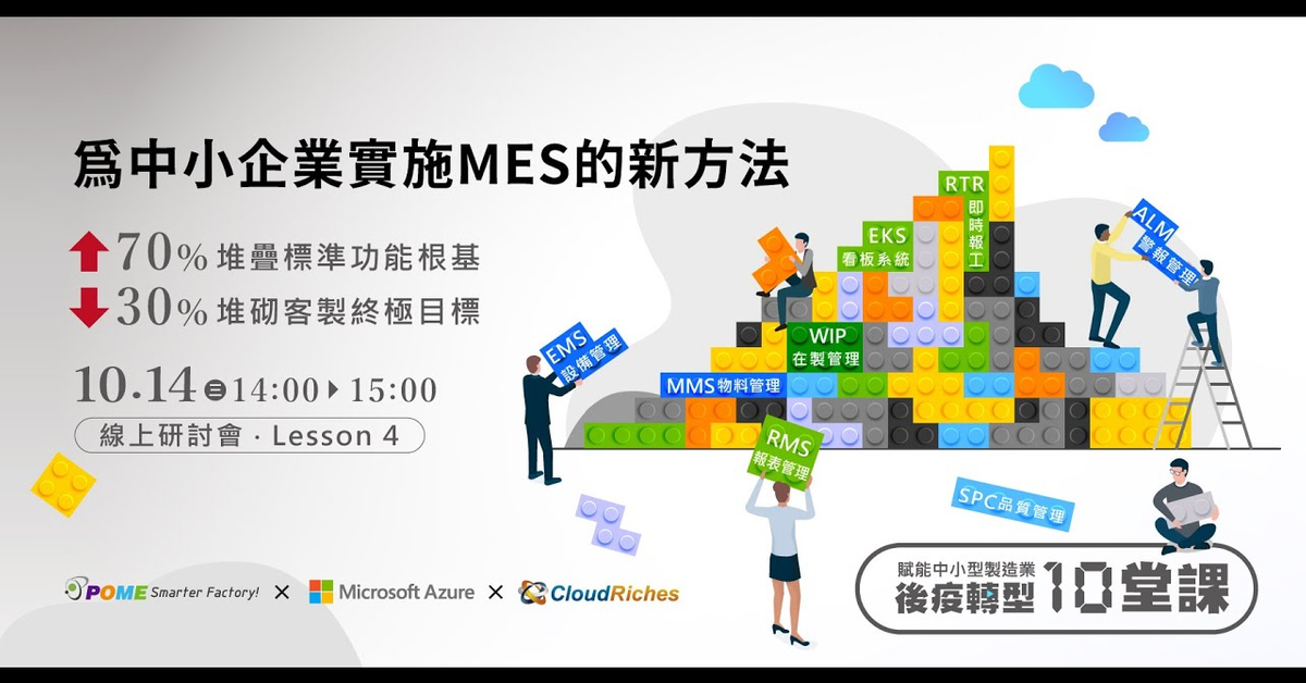 10/14 線上研討會 ‧ Lesson 4 -【後疫轉型 10 堂課:為中小企業實施MES的新方法】